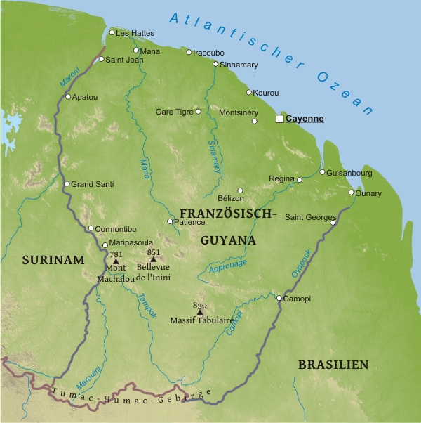 Karte von französisch guayana